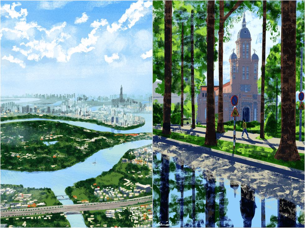 Ngắm nhìn thành phố qua bộ tranh 'vẽ Sài Gòn bằng cả trái tim' của họa sĩ Philippines 7